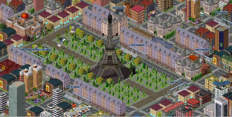 screenshot of Paris in pak128, simutrans
